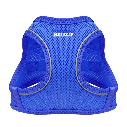 """azuza Dog Harness for Small Dogs, Reflective Air Mesh Dog Vest Harness, All Weather Comfort Puppy Harness for Small Dogs and Toy Breeds, Royal Blue, Chest Girth: 14""""-16"""""""