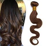 24'(60cm) SEGO Brazilain Human Hair Bundles Extensiones de Cortina Pelo Natural Humano [#4 Castaño Chocolate] Cabello Brasileño sin Clip Rizado Ondulado Body Wave (1 Bundle,100g)