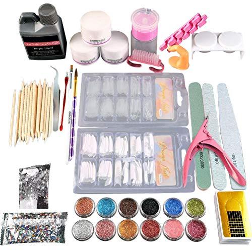 Vashye Juego de uñas, 12 Colores Kit de uñas acrílicas Kit Completo...