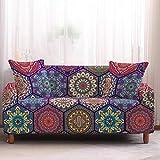 HUANGSAN Funda para sofá elástica: Estilo Bohemio con Estampado 3D Funda para sofá: Cubierta para Muebles de Sala de Estar: Tela de poliéster y Spandex: Funda para sofá, 5,2 plazas