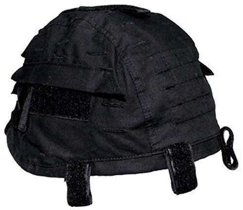 MFH Grössenverstelbarer Helmbezug mit Taschen Helm Bezug Tarnbezug Cover für Stahlhelm Camo Camouflage viele Farben (Schwarz)