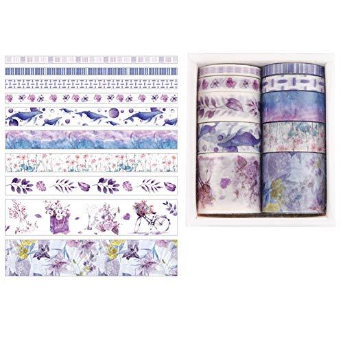 Gitua 10 Rollen Washi Tape Set, Mehrfarbig Dekorative Klebeband für Scrapbooking DIY Handwerk Geschenke Dekoration Deko Notizblock (Violett)