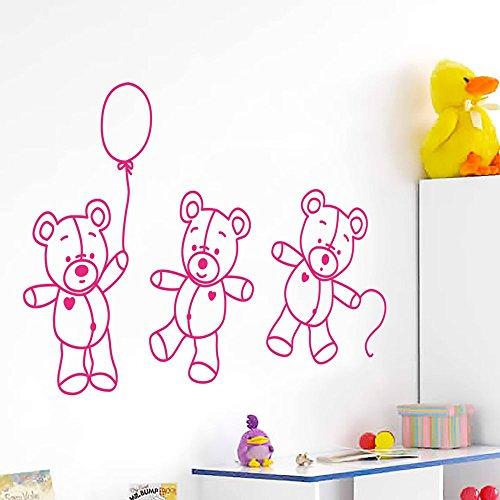 Sticker enfant IDEAVINILO : trois en jouant ours en peluche avec un globo. Dimensions : 90 x 60 cm Contemporain fuchsia