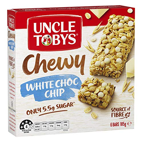 UNCLE TOBYS Muesli Bars Chewy White Choc Chip 6 Pack, 185g