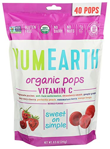 YumEarth, Organic Vitamin C Lollipops 40 lollipops per Pack, 8.5 oz
