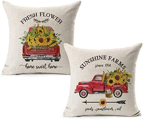 CARRIE HOME Summer Sunflower Outdoor Pillow Covers 18x18 Vintage Red Truck Sunflower Decor for product image
