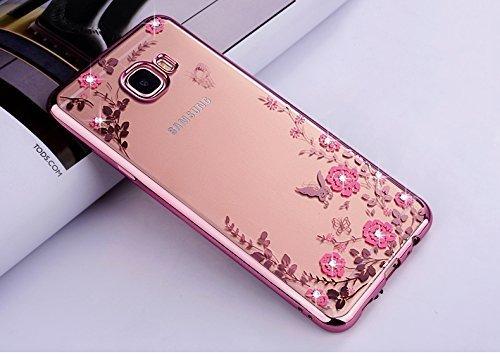 Ukayfe Custodia Cover Samsung Galaxy Grand Prime G530 Silicone, Ultra Slim Custodia Cover per Galaxy Grand Prime G530 Placcatura Trasparente Sottile Morbida Soft TPU Glitter Diamante-Oro Rosa