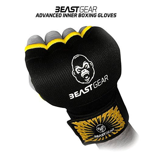 Beast Gear Guantes Boxeo Gel – Manoplas Boxeo de Calidad Superior para Deportes de Combate, MMA, Muay Thai, Artes Marciales | Large