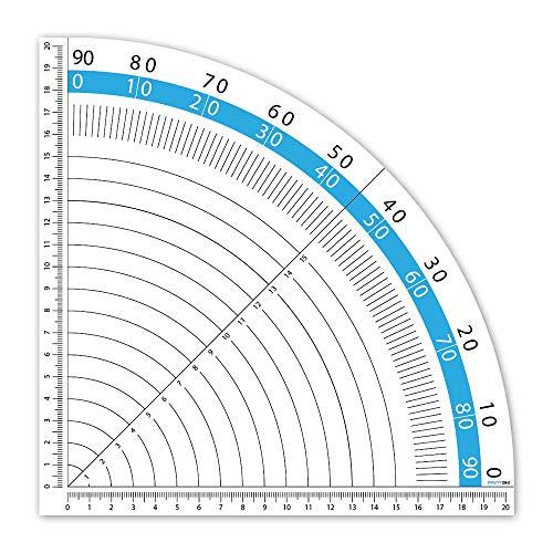 Geodreieck Aufkleber 20 cm selbstklebend als Zeichendreieck ideal für Handwerker-Werkbänke oder Patchworker und Schneider zum Winkel-Messen