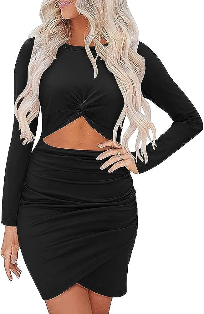 oten Women's Hollow Out Bodycon Dress Long Sleeve Twist Front Wrap Mini Club Dresses