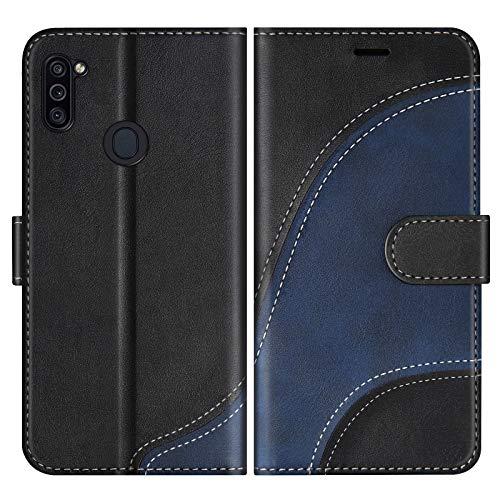 BoxTii Hülle für Galaxy M11, Leder Handyhülle für Samsung Galaxy M11, Ledertasche Klapphülle Schutzhülle mit Kartenfächer & Magnetverschluss, Schwarz