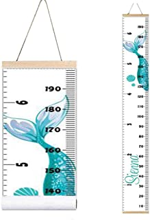 Miaro Kids Growth Chart, Wood Frame Fabric Canvas Height Measurement Ruler from Baby to Adult for Child's Room Decoration 7.9 x 79in (7.9 x 79in, Green Mermaid)