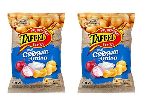 Papas fritas TAFFEL (crema agria y sabor a cebolla), 210 g, paquete de 2