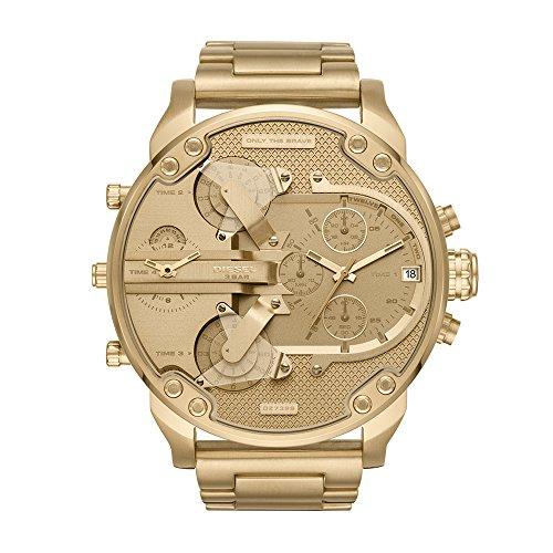Relógio cronógrafo masculino Diesel Mr. Daddy 2.0 Quartz aço inoxidável, cor: dourado (modelo: DZ7399)