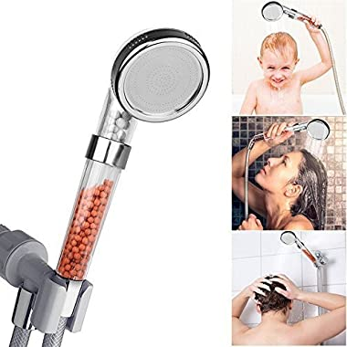 VEY14 Clear Handheld Showerheads 3 Setting and Water Saving Ionic Filter High Pressure Shower Head for Dry Skin & Hair (8