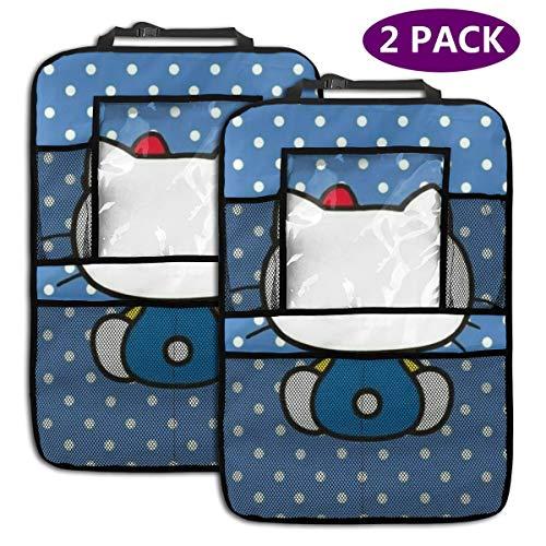TBLHM Hello Kitty Lot de 2 Sacs de Rangement pour siège arrière de Voiture avec Support pour Tablette Bleu