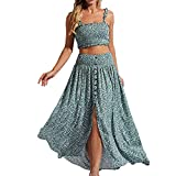 YODNBUK Women's Floral Two Piece Outfit Dress Shirred Cami Crop Top and Split Long Skirt Set-Blue