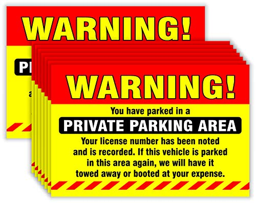 """Private Parking Stickers (Pack of 50) Reserved No Permit Area Violation Warning Notice Vehicle is Illegally Parked - Large Size 6"""" X 9"""" – Yellow"""