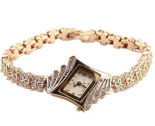 Reloj de pulsera de Baakyeek, de cuarzo, chapado en oro, con diamantes de imitación, esfera romboidal, para mujer