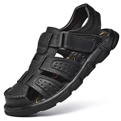Sandalias de Senderismo Hombre Piel Sandalias Ajustables de Cuero al Aire Libre con Punta Cerrada Zapatos de Playa de Pescador de Verano