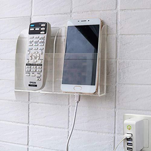 HyFanStr Transparente Fernbedienung Organizer, Fernbedienung Halterung Wand, Wandhalterung Fernbedienung Aufbewahrungsbox für Telefon, 2 Fach