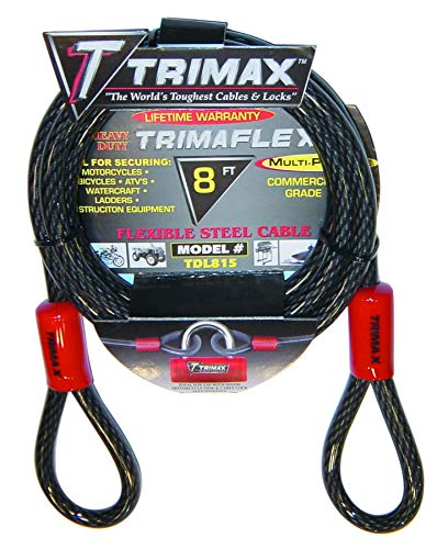 Trimax Trimaflex Dual Loop Multi-Use Cable 8' L X 15Mm TDL815, Card Packaging,Steel
