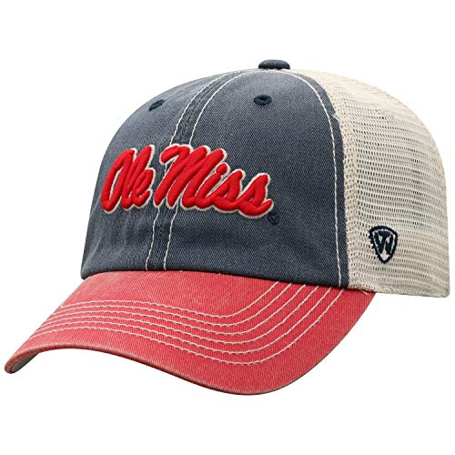 Top of the World Mississippi Old Miss Rebels Men's Relaxed Fit Adjustable Mesh Offroad Hat Team Color Icon, Adjustable
