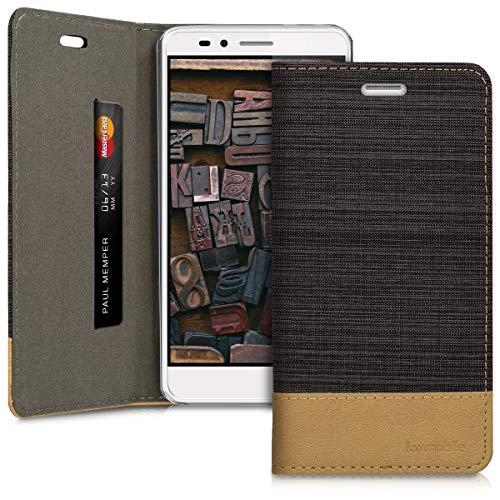 kwmobile Huawei Honor 5X / GR5 Hülle - Stoff Handy Cover Case mit Ständer - Schutzhülle für Huawei Honor 5X / GR5 - Anthrazit Braun