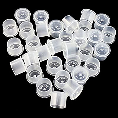 Yuelong 1000Pcs White Tattoo Ink Caps Cups With Base, 4 Sizes ink caps cups #11 Small #14 Medium #17 Large #20 Extra Large for Your Choose Tattoo Supplies