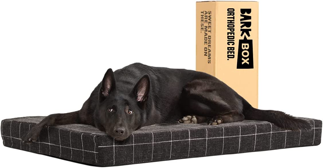 Barkbox Memory Foam Platform Dog Bed, Plush Mattress for Orthopedic Joint Relief, Machine Washable Cuddler with Removable Cover and Water-Resistant Lining, Includes Squeaker Toy
