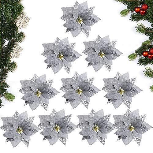 MEJOSER 10pcs Flores Navidad Artificiales Grandes 22cm con Purpurina Flores Pascua Ornamentos Adornos árbol...