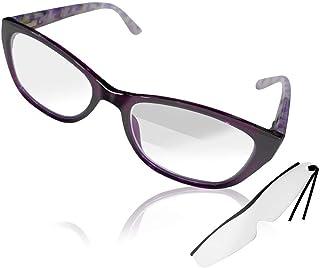 3段階の拡大率 1.0倍&1.2倍&1.5倍 拡大鏡 眼鏡型 トリプルアイルーペ しおり型ルーペ付き 女性用AX-049パープル