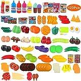BeebeeRun 123 Pièces Jeu de Cuisine Legumes Fruits Jouet Alimentaire Jeu D'imitation Jouet Jouets Educatifs pour Bébé et Enfants Garçons Filles