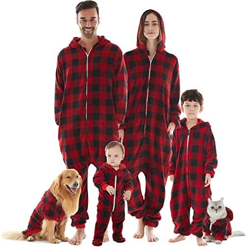 Kids Unisex Onesie Pajamas Children Sleepwear Zip Up Flannel Buffalo Plaid One Piece Pajamas product image