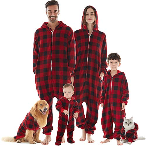 Matching Onesie Pajamas for Men, Drop Seat Hooded Buffalo Plaid Holiday Xmas Pajamas Blanket Sleepers PJs Red XL