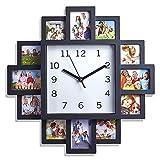 LIVIVO - Reloj de pared con 12 marcos de fotos, diseño moderno, color negro