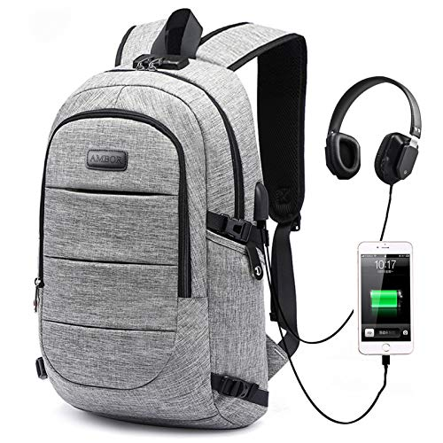 Laptop Backpack, 15.6-17.3 Inch College School Backpack for Men & Women AMBOR Anti Theft Laptop Backpacks with USB Charging/Headphone Port, Business Travel Computer Bookbag Gifts Fits Notebook, Gr...