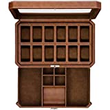 12 Slot Leather Watch Box with Valet Drawer - Luxury Watch Case Display