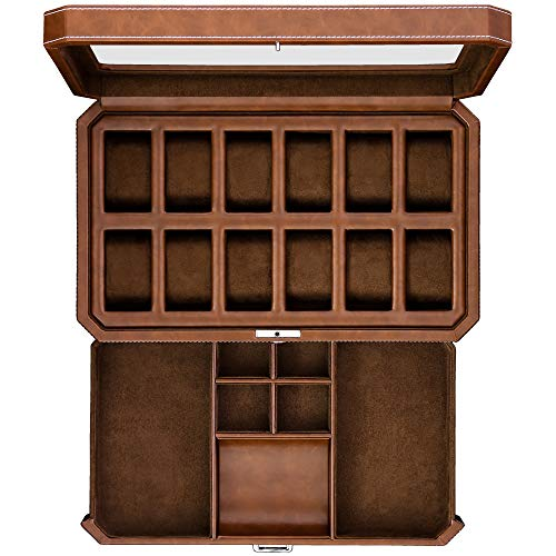 12 Slot Leather Watch Box with Valet Drawer - Luxury Watch Case Display Organizer, Microsuede Liner, Locking Mens Jewelry Watches Holder, Men's Storage Boxes Holder Large Glass Top Brown