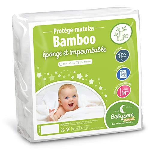 Babysom - Protège Matelas Bébé Bamboo - 60x120 cm | Alèse imperméable Souple et Silencieuse | Bouclette Éponge | Viscose Douce et Respirante | Oeko-Tex®