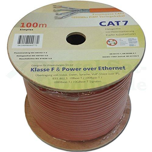 Easymouse CAT 7 100m Simplex Gigabit Ethernet Netzwerkkabel, 23/1 AWG Kupfer S/FTP PiMF Verlegekabel mit Metermarkierung auf Kabeltrommel, Internet LAN, POE, VoIP, Daten-, Videoübertragung bis 1000MHz