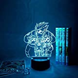 GEZHF 3D ilusión LED lámpara de noche para niños Naruto Uzumaki niños LED anime noche luz equipo 7 3D lámpara Kakashi Hatake Kid colorido dormitorio Sasuke Uchiha