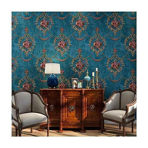 JLWM Tapete Barock- Amerikanisch 3D Linderung Nicht Gewebt Pastoral Europäischer Stil Luxuriös Vintage-Blau-0.53x10m