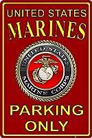 アメリカ合衆国海兵隊駐車場のみ。ブリキの看板ヴィンテージ鉄の絵画金属板ノベルティ装飾クラブカフェバー。