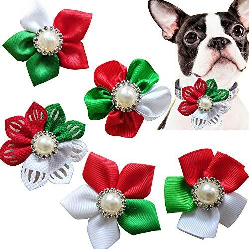 Masue Pets Christmas Dog Flower, Cat Dog Bowtie Holidays,5pcs Diamand Dog Collar Charms Elegant Cat Dog Flower 2.3' Dog Christmas Accessories