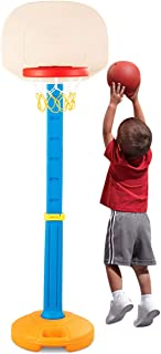 Costzon Kids Basketball Stand, Basketball Hoop Adjustable Height, Kids Play Toy, Portable Design Indoor Outdoor (Height Adjusts from 4 to 5.5 Feet)