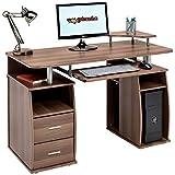 Computer-Schreibtisch mit Regalen, Schrank und Schubladen fürs Home Office, in dunkler...
