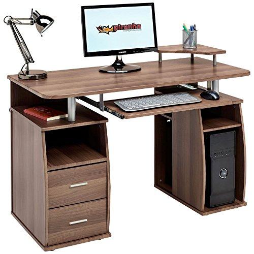 Piranha Trading Escritorio Mesa de Ordenador Despacho con Estantes, Armario y Cajones para la Oficina en Casa Efecto Nogal PC 5w