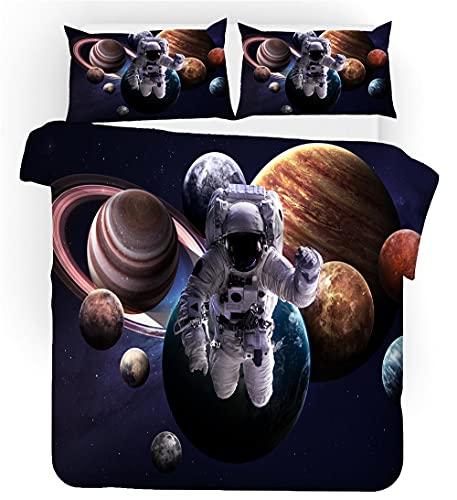 WEKUW Juego de sábanas cómodas y Suaves Juego de Ropa de Cama con,Astronauta Espacial 100% poliéster,antialérgico,Anti decoloración,200x200 cm impresión HD para Todo el Mundo