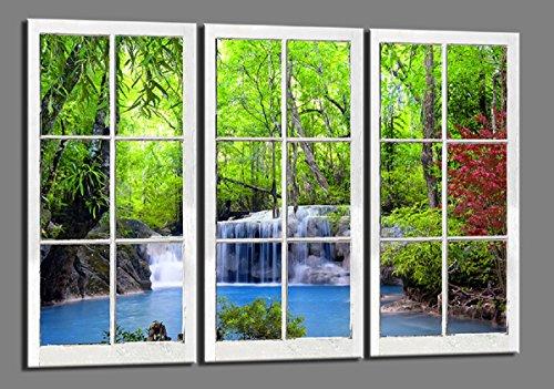 Visario 120 x 80 cm Bild auf Leinwand Fenster Wasserfall Blick 4404-SCT deutsche Marke und Lager - Die Bilder/das Wandbild/der Kunstdruck ist fertig gerahmt